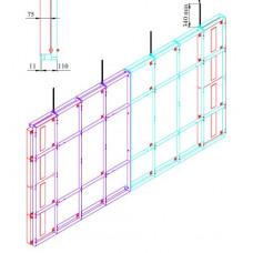 Каркас потолочный для светодиодной видеостены 8х4 из панелей габаритами 500х500х75 и посадочными отверстиями 440х440хМ10
