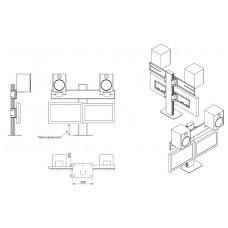 Настольная подставка под 2 монитора с колонками