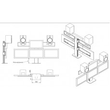 Настольная подставка под 4 монитора с колонками