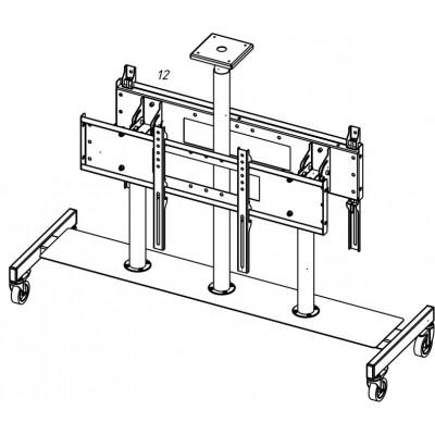 Мобильная стойка для двух мониторов спина к спине с полкой для ВКС