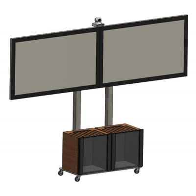 Стойка для видеоконференций на два монитора с Rack-стойками