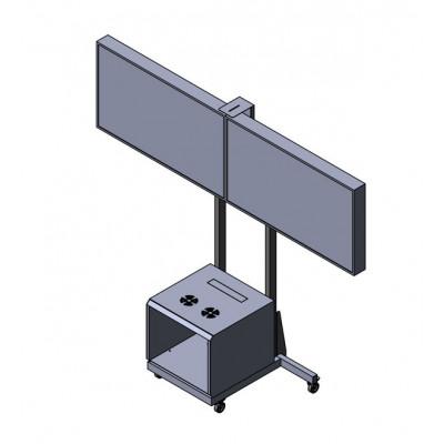 Напольная подставка для видеоконференций на 2 монитора с Rack-стойкой