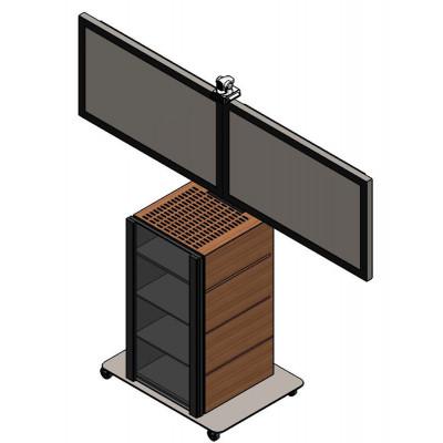 Напольная подставка под видеоконференцсвязь на 2 панели с Rack-стойкой на 20 юнитов