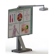 Напольная стойка для интерактивной доски с кронштейном под проектор