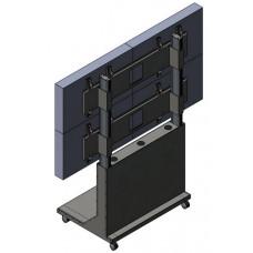 Напольная мобильная видеостена 2х2 под Nec X463UN с декоративным кожухом на колесах
