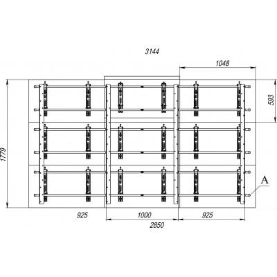 Каркас настенный для видеостены 3х3 на базе кронштейнов откидного типа