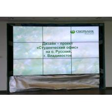 """Напольно-настенная видеостена 3х3 под Mitsubishi 55"""" с кронштейном полного выдвижения"""