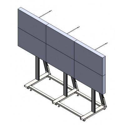 Напольная видеостена 3x2 под Delta LW-5588 на колесах с креплением к стене