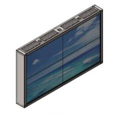 Настенная видеостена 2х2 под Nec X551UN с кронштейном откидного типа с защитным кожухом